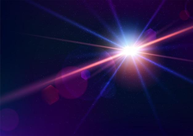 Chiarore dell'obiettivo della fotocamera. effetto cinematografico brillante che spara contro il sole. bellissimi effetti di luce del flash
