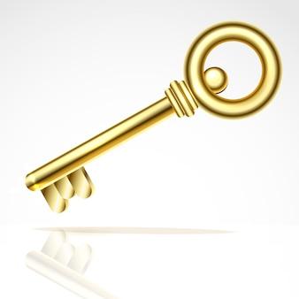 Chiave d'oro. isolato su un'illustrazione bianca della priorità bassa.