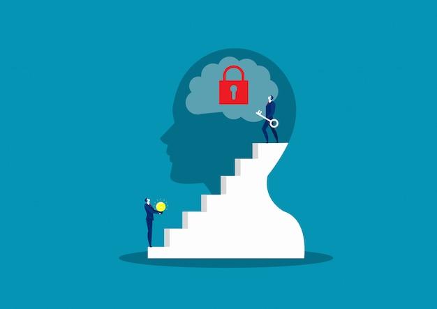 Chiave di business prendere per sbloccare il cervello, sfondo di pensiero possitivo
