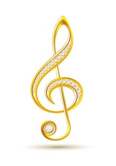 Chiave di violino dorata con diamanti