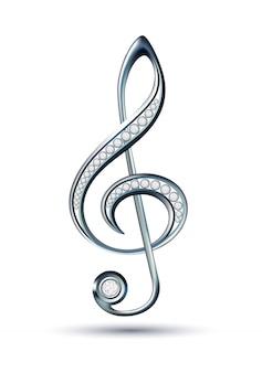 Chiave di violino in argento con diamanti