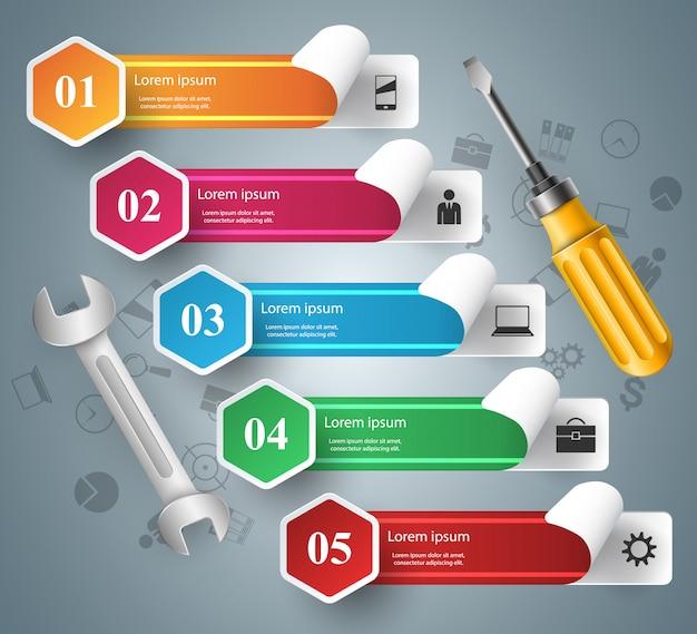 Chiave inglese, cacciavite, icona di riparazione infografica di affari