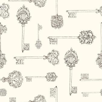 Chiavi antiche disegnate a mano senza cuciture del modello. chiavi vintage con elementi floreali, farfalle e uccelli. illustrazione vettoriale disegnato a mano