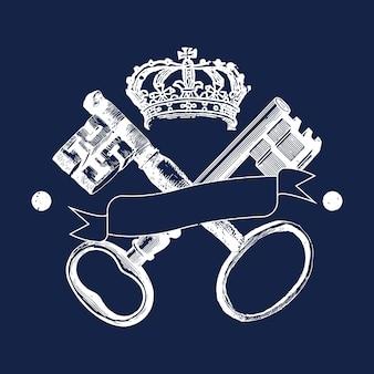 Chiavi e corona distintivo vettoriale