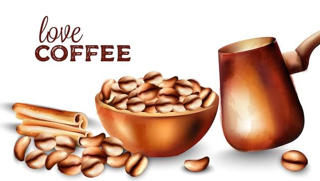 Chicchi di caffè in un vassoio, bastoncini di cannella e pentola di bottaio