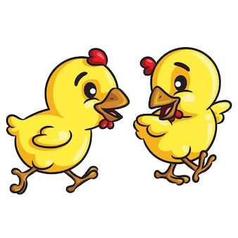 Chicks walking cartoon