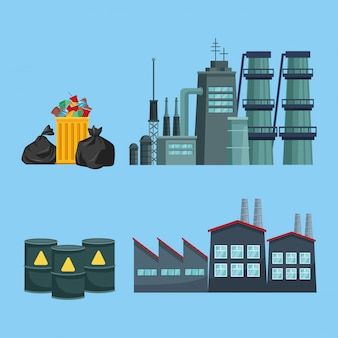 Chimeny e fabbrica inquinanti con immondizia e botti
