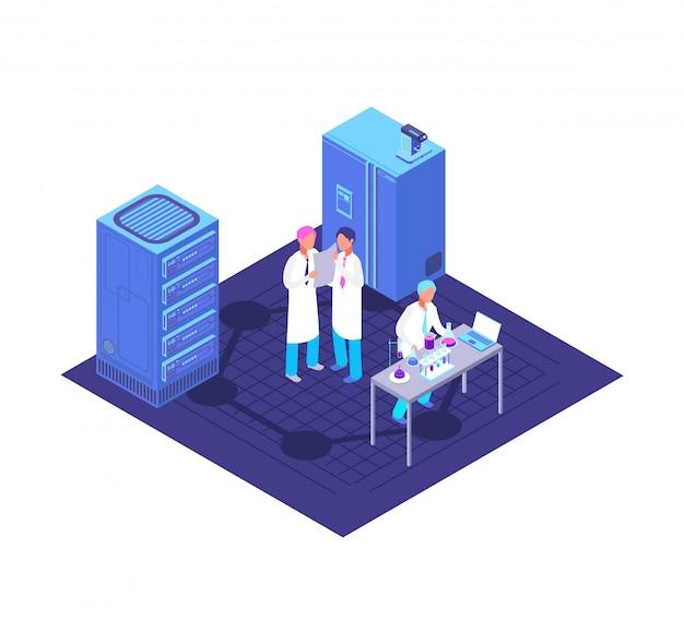 Chimica, laboratorio farmaceutico isometrico