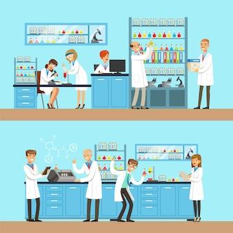Chimici nel laboratorio di ricerca chimica facendo esperimenti ed eseguendo test chimici