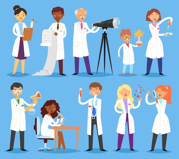 Chimico o medico del carattere della gente professionale dello scienziato che ricerca esperimento medico nell'illustrazione scientifica del laboratorio