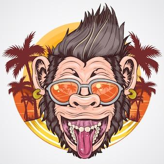 Chimpanzee summer sorriso e felice con l'albero di cocco sulla spiaggia
