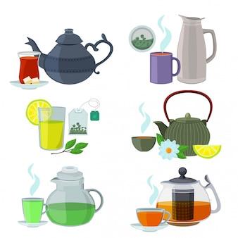 Chinesse, inglese e altri tipi diversi di tè. insieme di vettore isolato su bianco