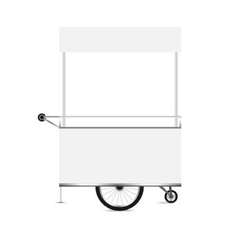 Chiosco bianco, modello vuoto di chiosco ruote carrello clip art