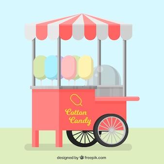 Chiosco classico di caramelle di cotone sulle ruote