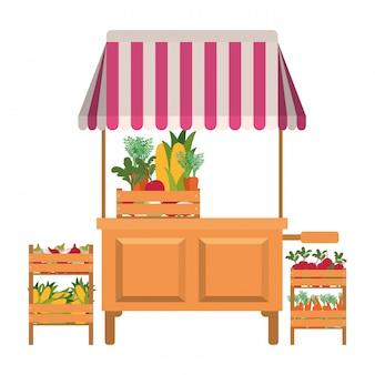 Chiosco negozio con icona isolata di verdure