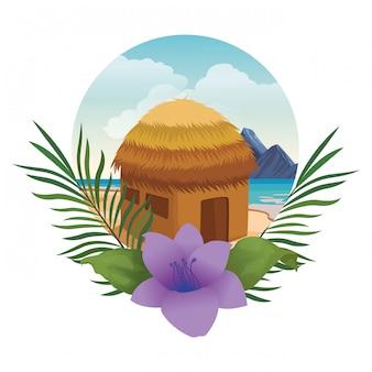 Chiosco spiaggia con fiori e foglie icona rotonda