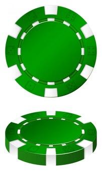 Chip verdi della casion su bianco