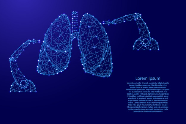 Chirurgia medica su polmoni umani con manipolatore di armi robotico moderno innovativo da futuristiche linee blu poligonali e stelle luminose per banner, poster, biglietti di auguri. illustrazione.