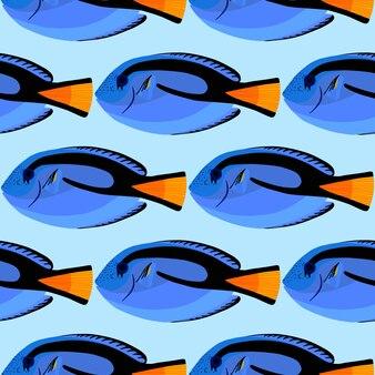 Chirurgo pesce senza cuciture. pesci dell'oceano tropicale. paracanthurus hepatus. illustrazione vettoriale