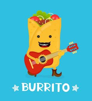 Chitarra acustica di danza del burrito sorridente felice carino gustoso. illustrazione di personaggio dei cartoni animati di stile piano moderno di vettore.