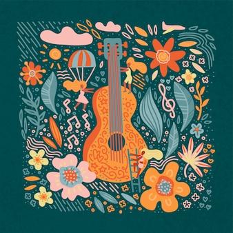 Chitarra della bandiera di festival di musica con i fiori e le ragazze.