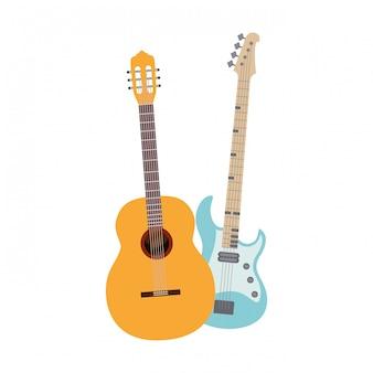 Chitarra e basso spagnoli. strumenti musicali isolati