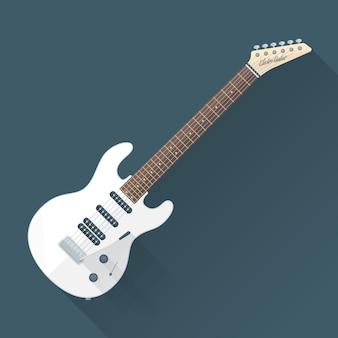 Chitarra elettrica bianca con le ombre