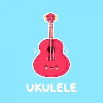 Chitarra sorridente felice sveglia delle ukulele. design piatto personaggio dei cartoni animati design.isolated su sfondo bianco. chitarra ukulele, concetto di mascotte logo musicale
