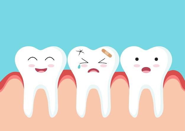 Chiuda in su del carattere dell'icona di denti