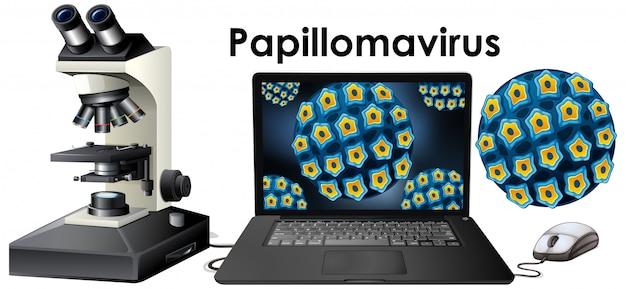 Chiuda sull'oggetto isolato del virus chiamato papillomavirus