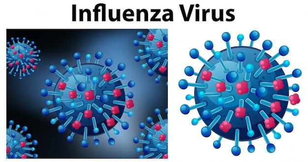 Chiuda sull'oggetto isolato del virus chiamato virus dell'influenza