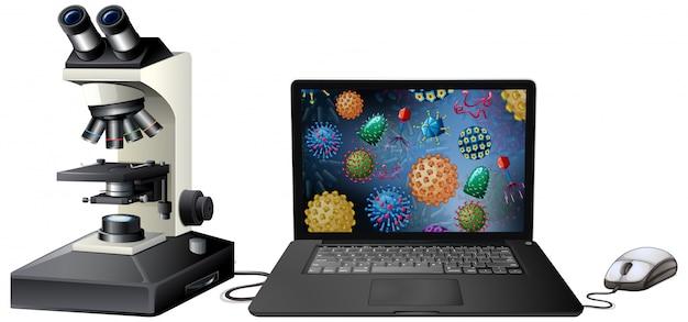 Chiuda sull'oggetto isolato del virus sullo schermo del computer