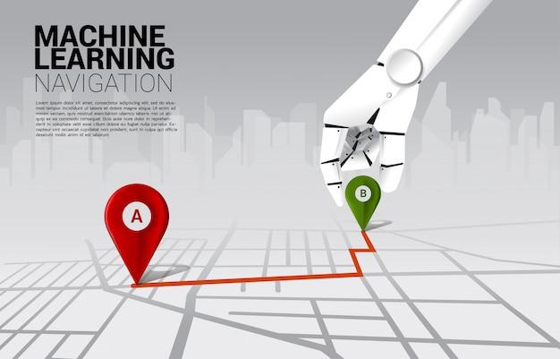 Chiuda sulla mano dell'indicatore del perno di posizione del posto del robot sull'itinerario di senso sulla mappa. concetto di macchina per l'apprendimento e sistema di navigazione.