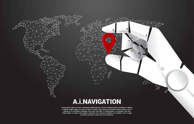 Chiuda sulla mano dell'indicatore del perno di posizione della tenuta del robot davanti alla mappa di mondo. concetto di macchina per l'apprendimento e sistema di navigazione.