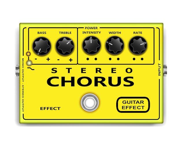 Chorus di chitarra effetto pedale isolato su sfondo bianco.
