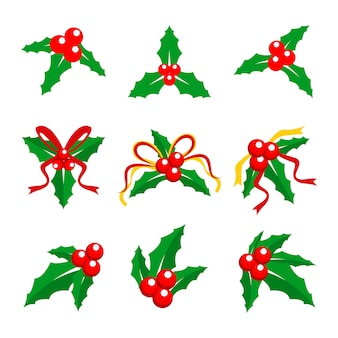 Christmas holly berry red ribbon