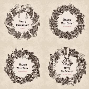 Chrystal call santa elk set anno nuovo stile incisione disegnata a mano