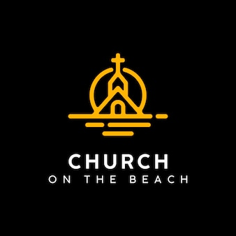 Church on at sunset beach logo design