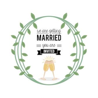 Ci sposiamo con decorazioni floreali e bicchieri di champagne