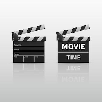 Ciac di film o valvola di film isolato sull'illustrazione bianca di vettore. clapperboard per video cli