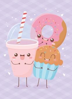 Ciambella cupcake e soda kawaii cibo personaggio dei cartoni animati
