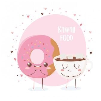 Ciambella e tazza di cioccolato con marshmallow kawaii cibo personaggio dei cartoni animati