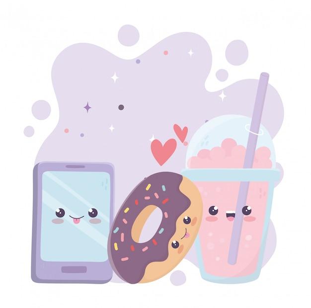 Ciambella per smartphone e personaggio dei cartoni animati di kawaii