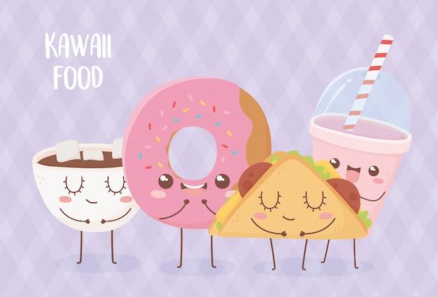 Ciambella tazza di cioccolato ciambella taco frullato kawaii cibo personaggio dei cartoni animati design