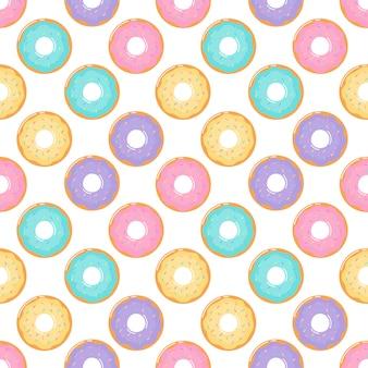 Ciambelle kawaii su sfondo bianco.