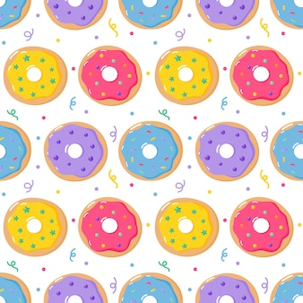 Ciambelle pastello dolci dessert estivi seamless pattern con diversi tipi per bar o ristorante