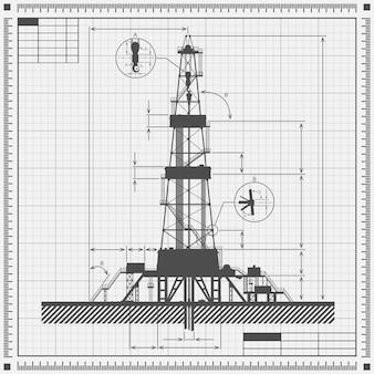 Cianografia della siluetta della piattaforma petrolifera