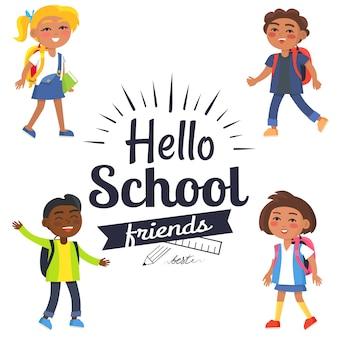 Ciao autoadesivo degli amici della scuola con il vettore degli alunni