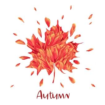 Ciao autunno acquerello disegno floreale con foglia d'acero.