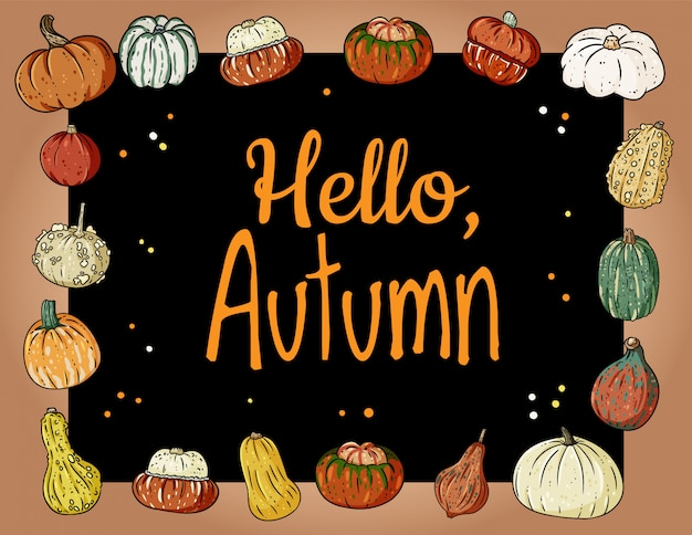 Ciao autunno banner accogliente carino con zucche. manifesto festivo autunnale. cartolina di saluti raccolta autunno